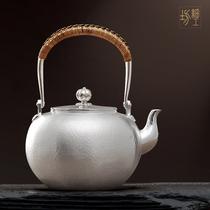 Fine workshop silver pot Sterling silver 9999 kettle Sterling silver cooking teapot Handmade Japanese silver pot tea set