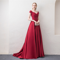 One word shoulder wine Red Wedding party toast dress