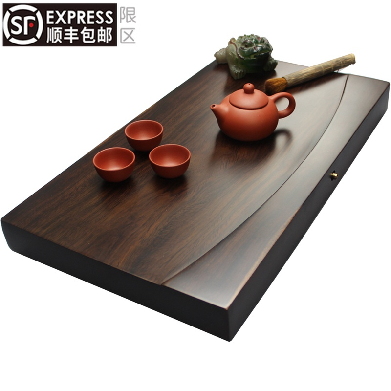The whole block of ebony tea plate solid wood tea table rectangular wood household tea sea large drainage simple kung fu tea set