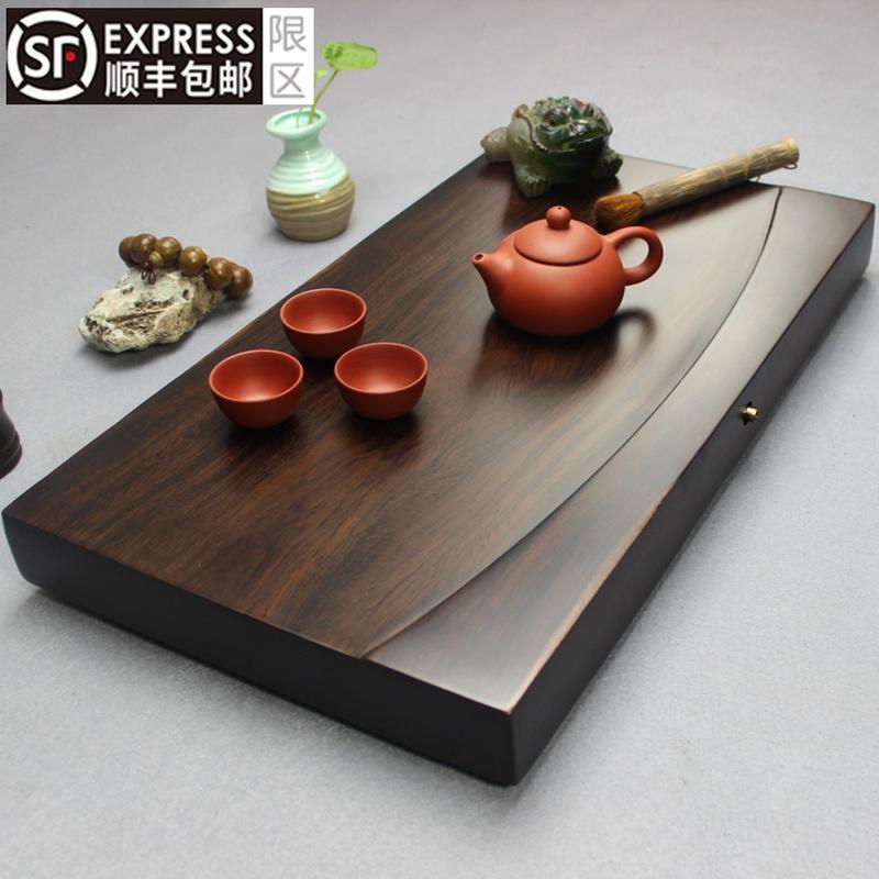 Весь кусок черного сандалового дерева чайная тарелка твердый деревянный чайный стол длинный квадратный домашний чай море простой большой бревна дренаж кунг-фу чайный набор