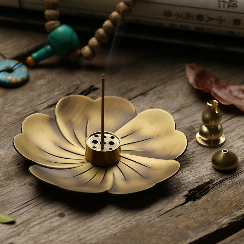 Cherry blossom pure copper antique incense burner incense insertion household indoor sandalwood dish incense burner incense holder