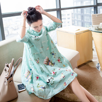 Ladies cotton and linen plus size loose was thin embroidery seven-point sleeve cheongsam