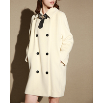 NZ high fixed Museum series 嵿 class Beibei alpaca double-breasted long white wool coat female Winter
