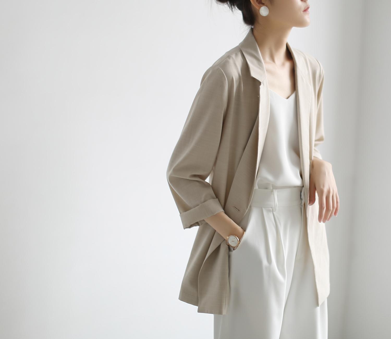 ss studio summer thin sun protection suit breathable hemp beige casual small suit jacket female design sense