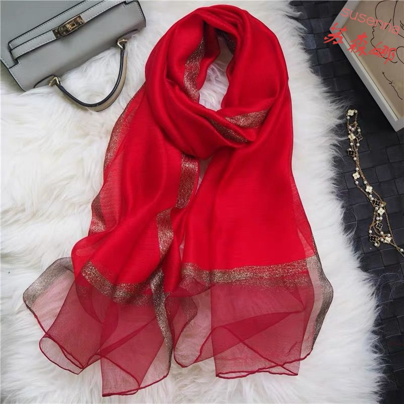 Pure mulberry silk wool female autumn winter shawl silk scarf long version of mother autumn and winter 100 silk scarf gifts