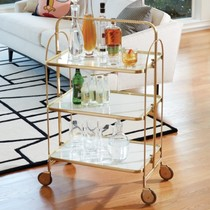 US imports Indian Golden Brass Square bar Trolley Modern restaurant wine rider push drink car tray