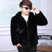 The 2017 winter Mens imitation fur coat mink coat slim short plush casual male tide motorcycle leather