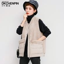 Short-style cotton waistcoat, imitation lamb velvet jacket, new Korean style loose fashion vest in autumn and winter of 2019