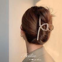 Hair clip headdress pearl grab hair clip back of the head female hair card grab clip large Korean summer net red shark clip
