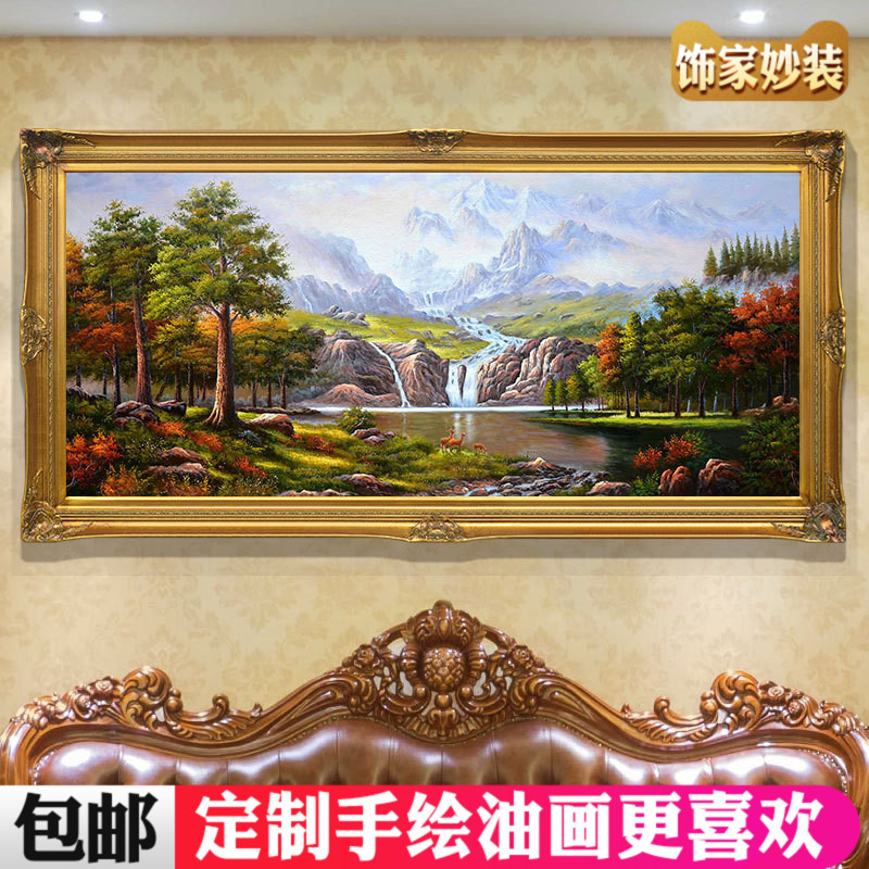 Customized Hand-painted Oil Painting Three Little Deer Jubao Basin Landscape European-style American Living Room Hanging Decoration Painting