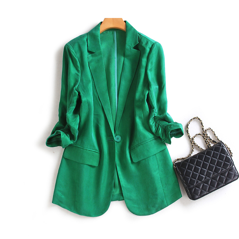 2021 spring and summer green copper ammonia silk small blazer female British style smooth temperament thin post split suit