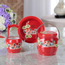 Creative hand-painted ceramic craft wedding with dowry supplies red descendants bucket three sets wedding room wedding Gifts
