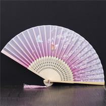 Китайский классический винтажный ветер складной вентилятор женский маленький вентилятор для ежедневного ношения флага подиума фото Фото реквизит