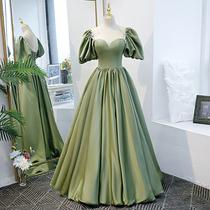 Evening dress skirt female summer high sense host Green on the run princess satin piano concert performance