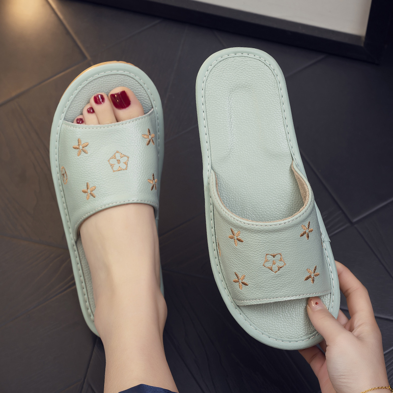 All-cow leather home non-slip non-smelly feet real leather breathable soft-soled sandals women summer couple indoor home floor