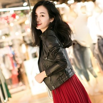 2019 new small leather leather Women Short motorcycle sheep leather slim cashmere jacket jacket winter Haining