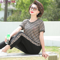 Middle-aged mother summer dress Western style short-sleeved T-shirt 40-year-old 50-year-old womens loose large size casual top suit