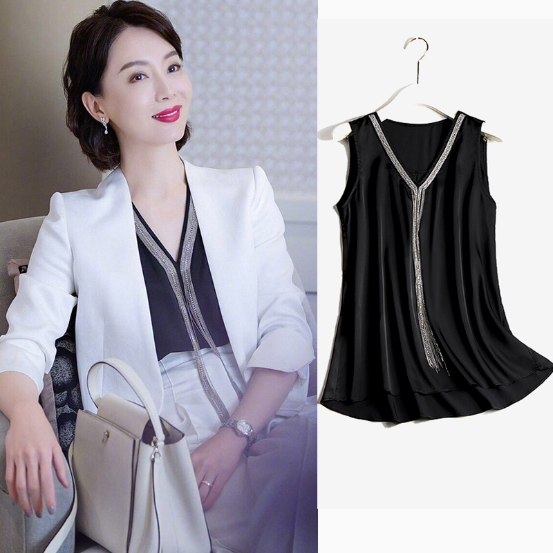 Chen several with the same sling vest womens autumn suit bottoms simulation silk satin loose sleeveless shirt outside wear tide