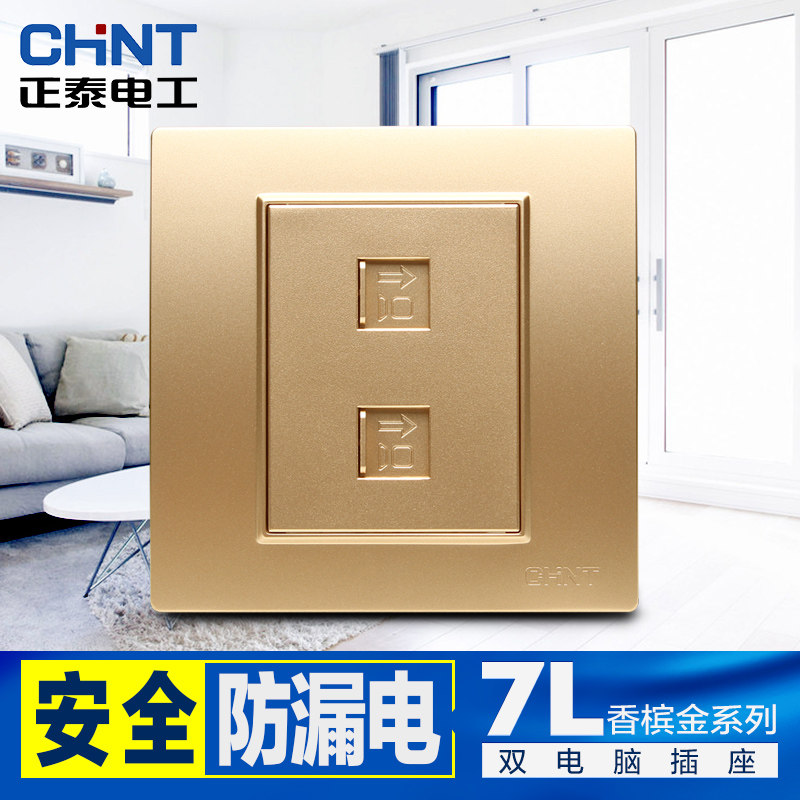 Chengtai 86 double computer socket wall champagne gold two two two-digit double-port network socket panel gold
