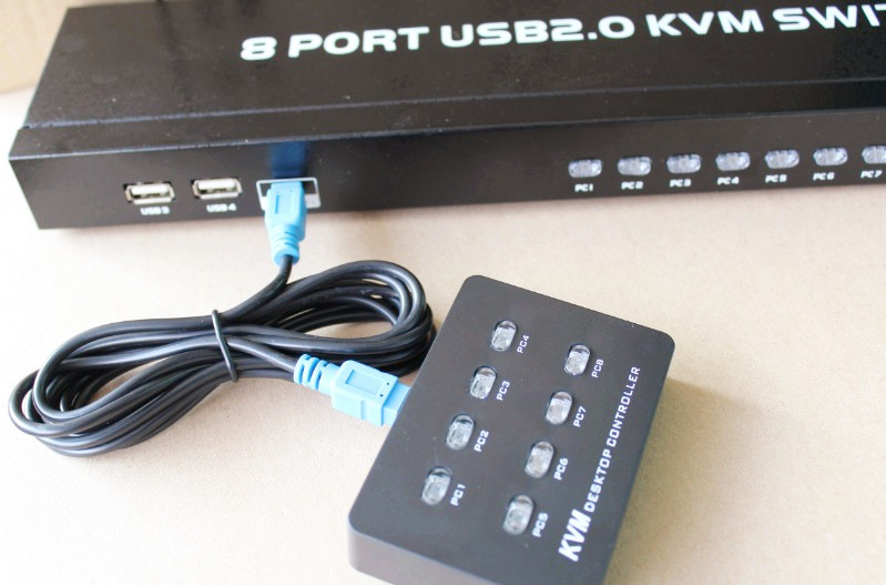 KVM Switcher 8 Ports VGA Manual Intelligent 8 Ports USB MT-801UK-L with Controller 8 in and 1 out