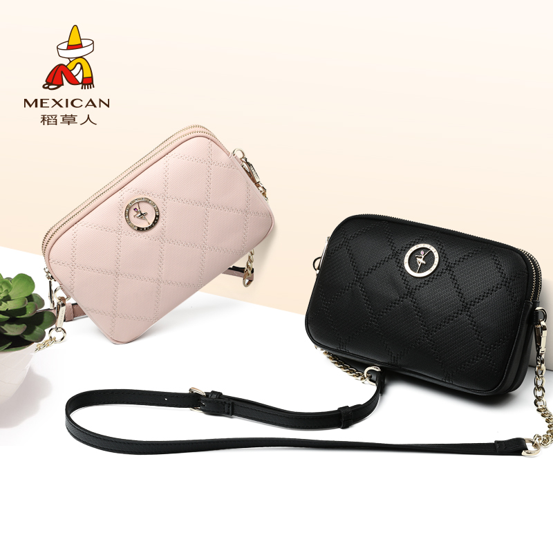 Scarecrow handbag 2018 new female Korean version of the simple wild lady shoulder Messenger bag Lingge chain small bag