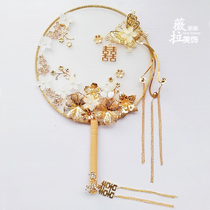 chinese wedding bride Golden antique happy fan hand bouquet wedding handmade antique fan Fan
