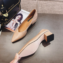 Hong Kong tide brand women's shoes new Korean fashion pointed toe set heel high heel shoes leather versatile thick heel shoes women's shoes