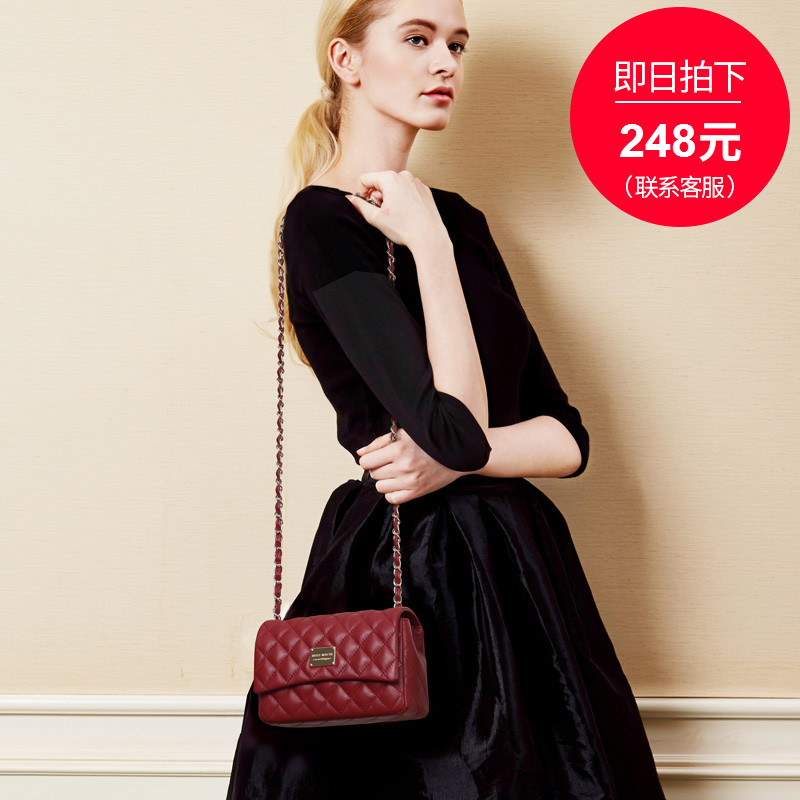 Baobao girl 2019 new sheepskin leather small CK fragrant wind diamond chain oblique dragging small bag summer skirt