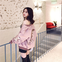 Both wear Spring and autumn wind embroidery baseball uniform local female Korean short 2017 new bomber jacket long sleeve coat