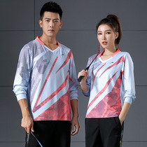 New air volleyball suit long-sleeved badminton suit mens and womens autumn and winter quick dry table tennis suit team uniform print