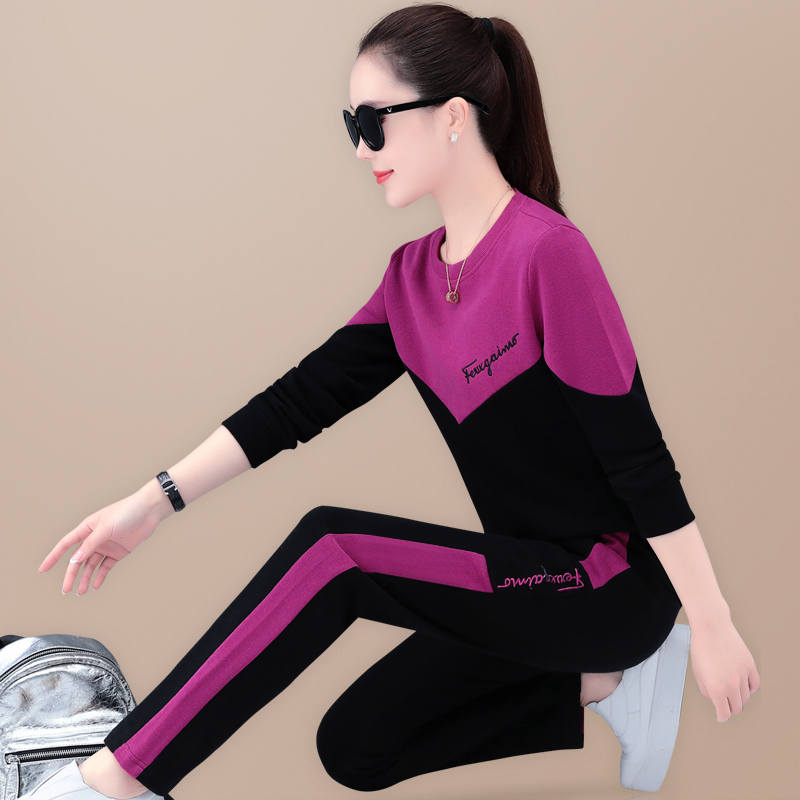 Casual sports suit womens spring and autumn 2021 new fashion foreign pie loose color suit running suit two-piece set