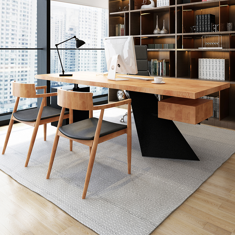 Desk boss table Solid wood logs Large board table President table Manager table Supervisor table Single desk and chair combination