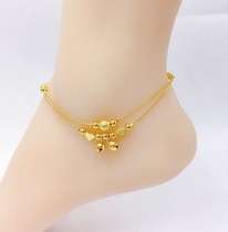 New Vietnam Sand Gold transfer beads anklet lady 24K imitation gold 999 Palace bells bells jewelry long not fade