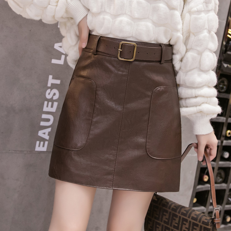 Women's leather skirt fashion new 2020 autumn and winter belt belt temperament high waist a-line bag hip short skirt coffee color skirt