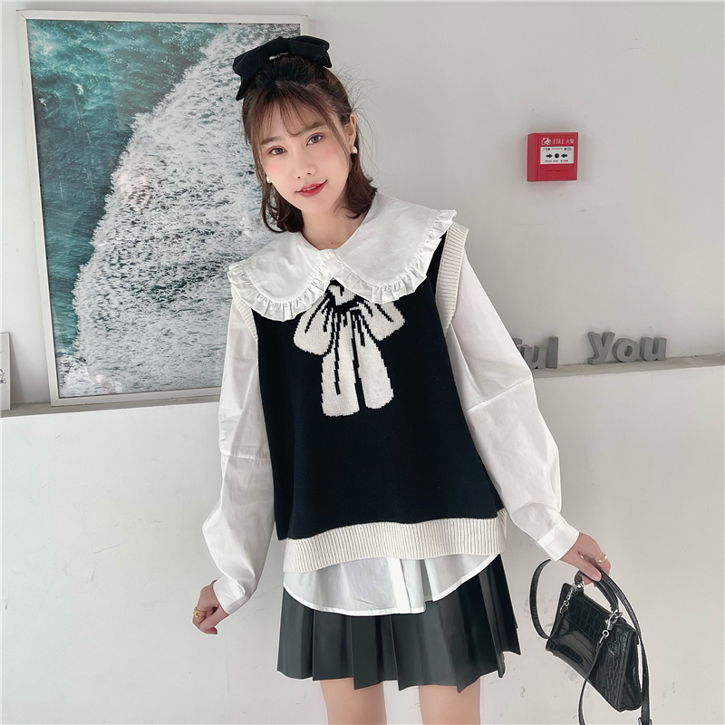 Yundhi Sugu bow vest knit sweater niche design sense sleeveless outer coat top girl