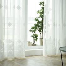 Curtain yarn curtain floor balcony yarn white living room bedroom finished simple modern white yarn linen embroidery curtain yarn