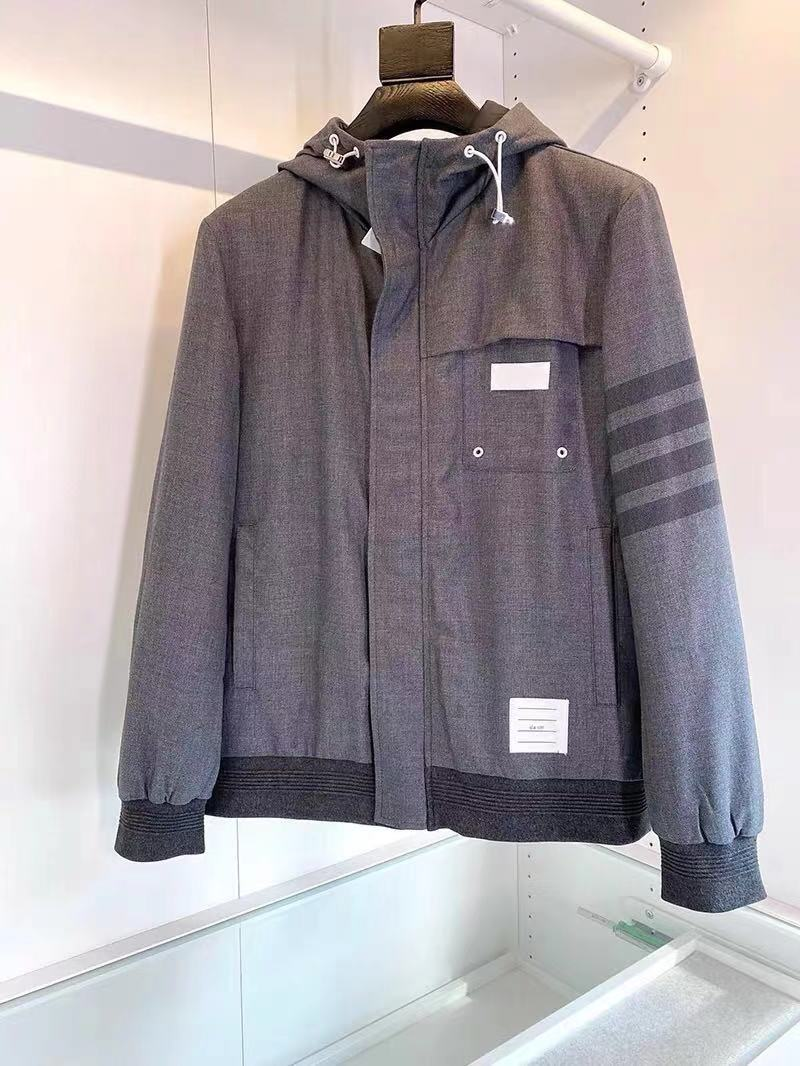 Thom Browne autumn winter new cotton dress simple casual mens hooded cotton jacket tide
