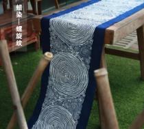 Shuijiafang Miao Batik Guizhou Ethnic Minority handicrafts Grass and wood dyeing Blue dyeing Spiral pattern table flag tea mat