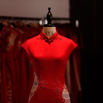 Chinese bridal red improved slim fit China style Cheongsam
