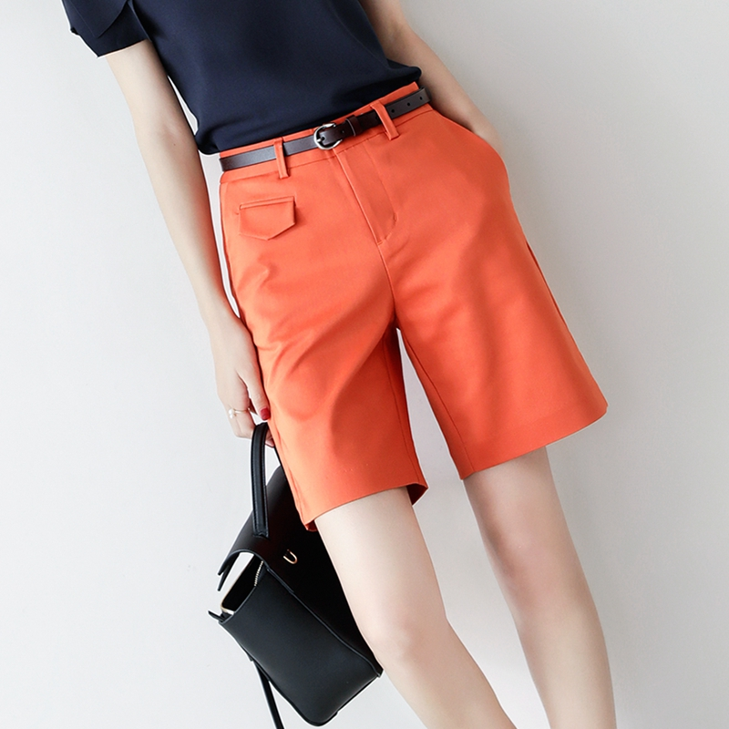 Handsome 2021 spring summer new straight-barrel temperament suit shorts womens high-waisted a-word casual pants womens four-point pants show thin