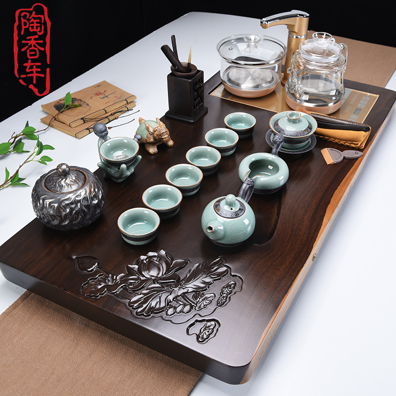 Ebony solid wood tea plate flower pear tea tea tea ceramic purple sand kungfu set tea set set living room office simplicity