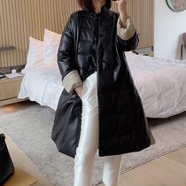 Mandy Mom new Chinese handmade plate buckle classic black silhouette imported sheepskin goose down down jacket female long section