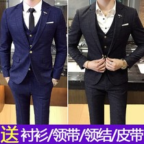 Summer Korean slim casual plaid suit suit