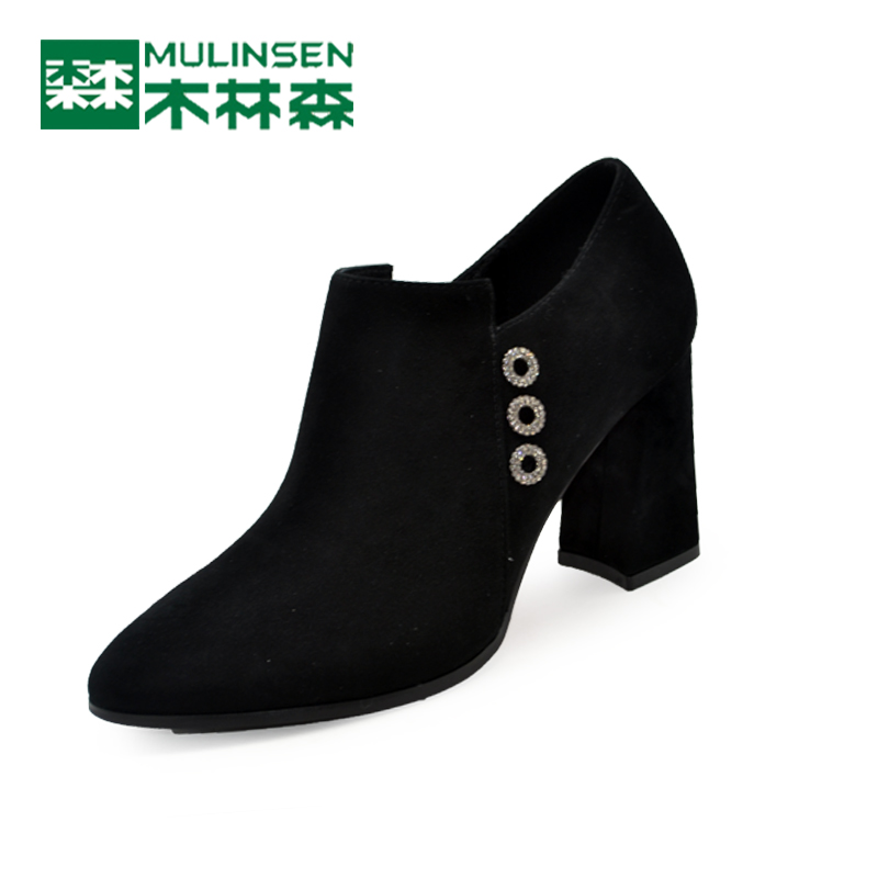 Mulinsen women's shoes spring 2018 new high-heeled sanded shoes elegant women's thick-heeled shoes fashion women's shoes