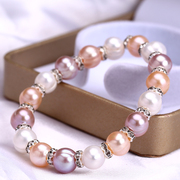 A freshwater pearl bracelet 9-10mm female big pearl natural texture on simple all-match near circular light hand