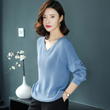 Spring clothes 2019 new women's wear Korean version long sleeve T-shirt V-collar clothes in early spring with thin bottom shirt in spring and Autumn