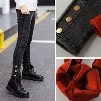 Girls one cashmere leggings Big children spring and autumn plus cashmere pants slim stretch children winter small feet jeans