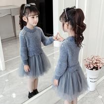 Девушки свитер юбка 2020 Новая осень-зима-весна платье из органзы принцесса платье ребенка платье зимнее платье зимнее платье