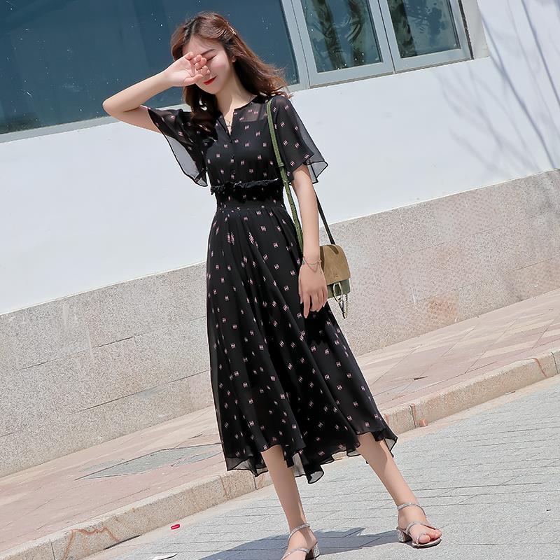 Euro station 2021 summer new large size black thin long printed chiffon temperament crushed flower dress womens wear