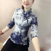 The wind in the spring and summer of 2017 Chinese female costume art RETRO sleeves, slim slim cotton dress shirt